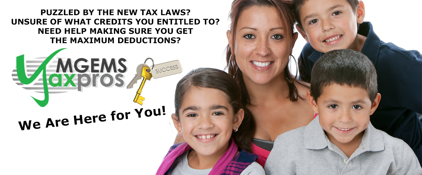 photo of family with taxs pro logo and slogan